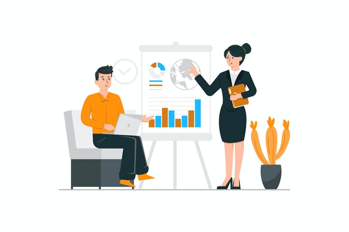 Thumbnail for Business woman presenting her work in the meeting