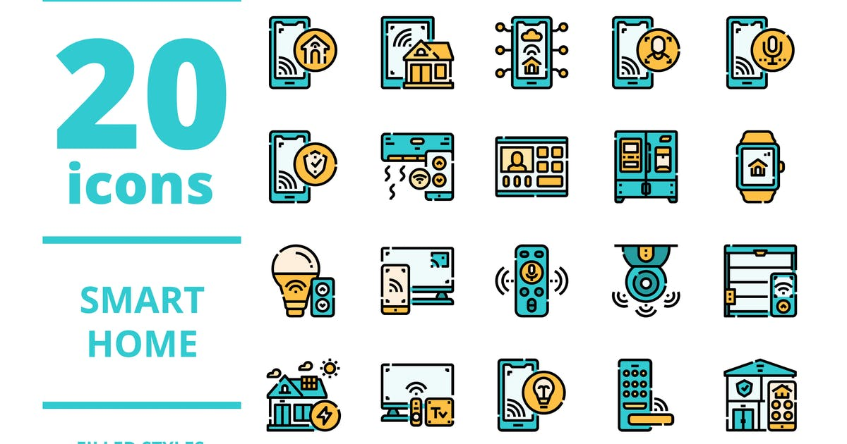 Download Smart home Filled icons packs by linector