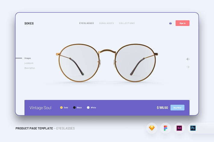 Thumbnail for Web Design UI Kit Product Page Template - Glasses