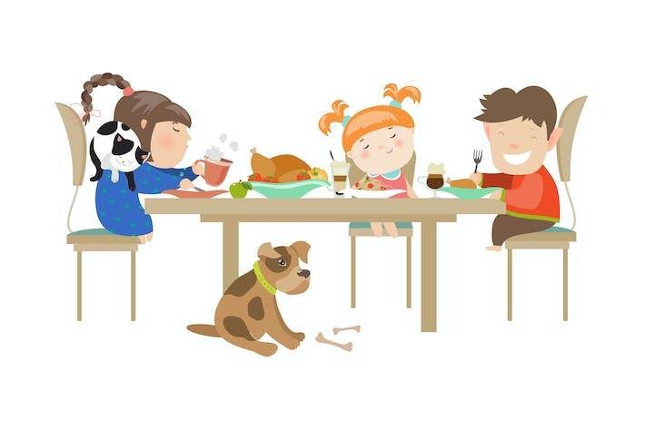 Children eating on a white background. Vector