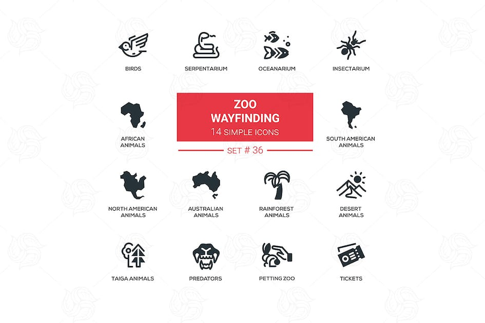 Download Zoo wayfinding - modern vector icons set by BoykoPictures