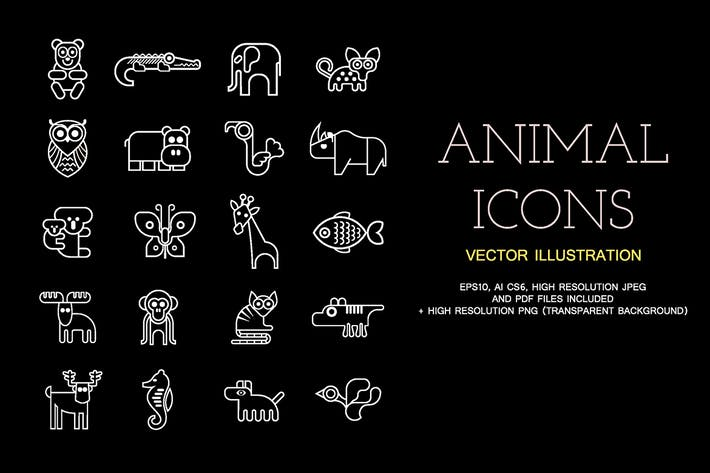 Thumbnail for Animal vector outline icon set