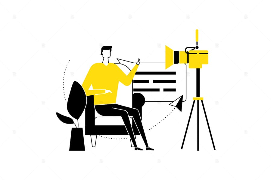 Video blogger - flat design style illustration
