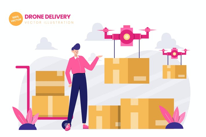 Thumbnail for Drone Delivery Services Flat Vector Illustration