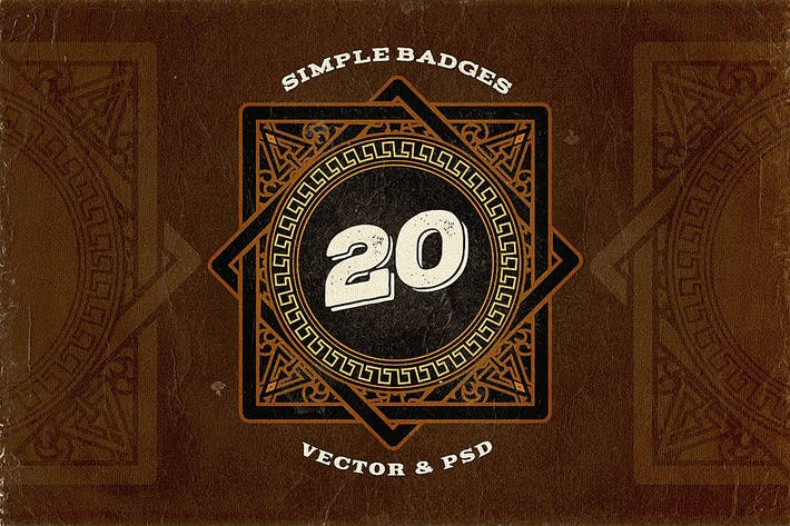 20 Simple Retro Logo Templates v.2 by cruzine on Envato Elements
