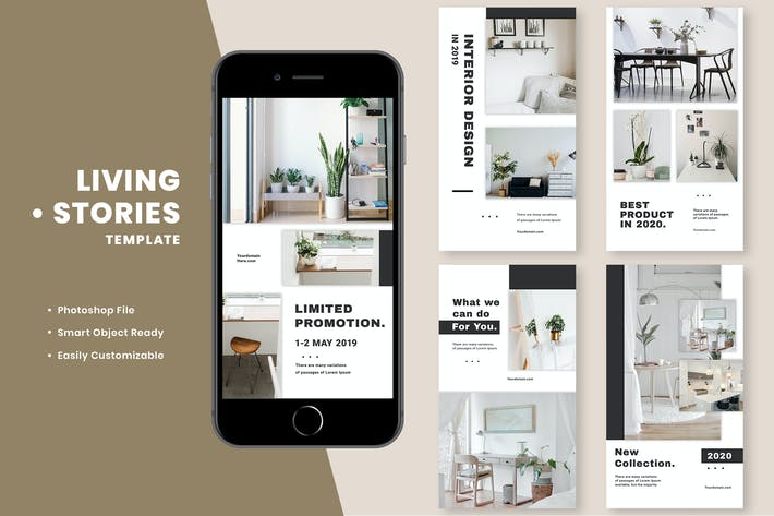Cover Image For Living interior Instagram Stories Template