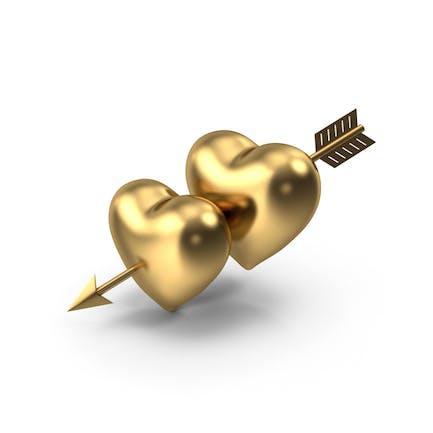 Два Золотых Сердца со Стрелой