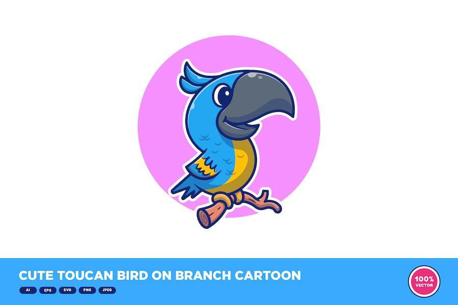 Cute Toucan Bird on Branch Cartoon