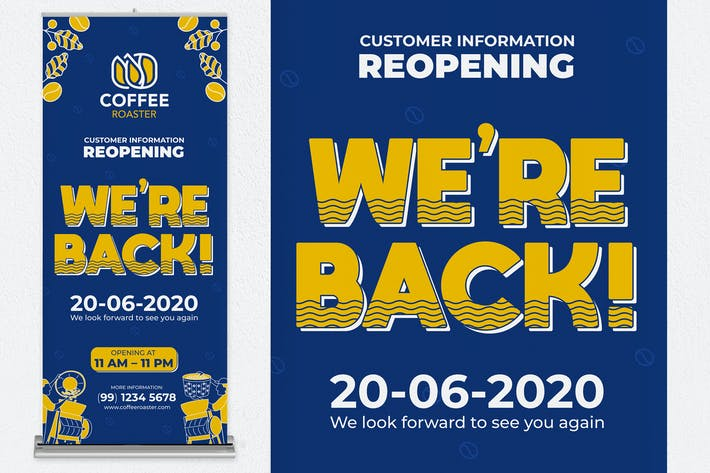 Thumbnail for Reopening Coffee Shop Roll Up Banner