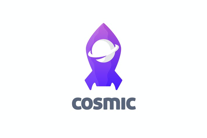 Thumbnail for Cosmic - Negative Space Planet and Rocket Logo