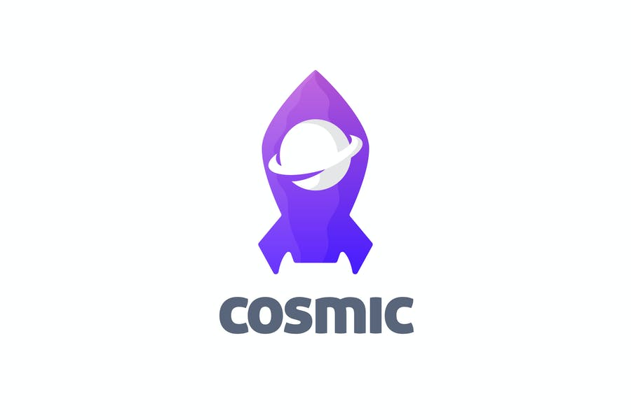 Cosmic - Negative Space Planet and Rocket Logo