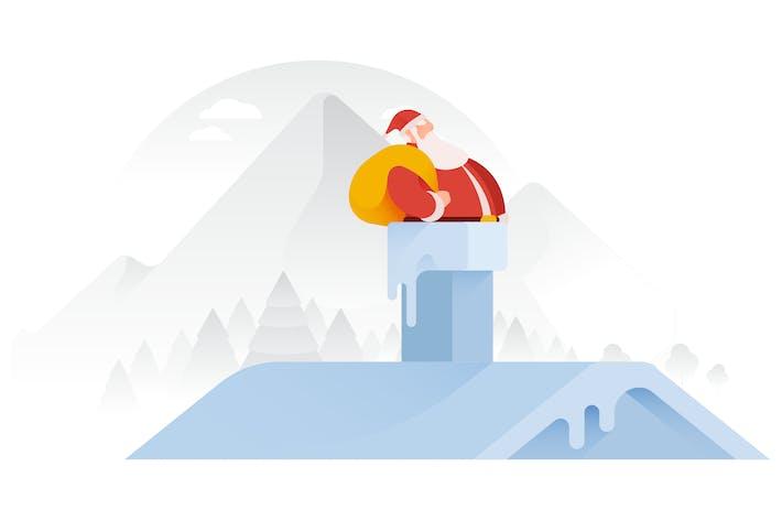 Thumbnail for Santa Going Down Chimney Vector Illustration