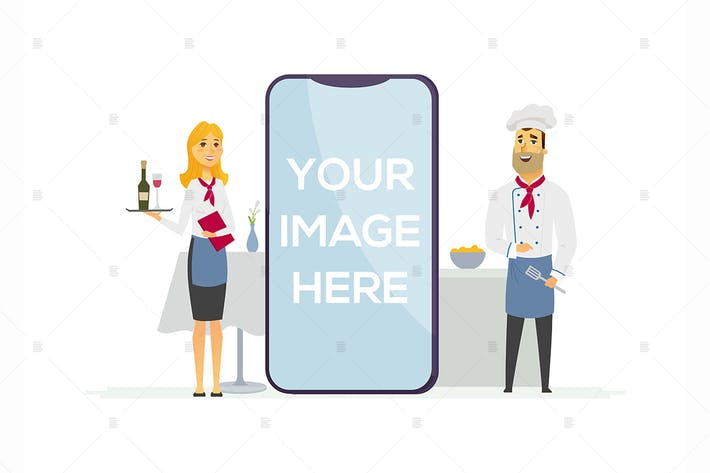Thumbnail for Restaurant staff - colorful illustration