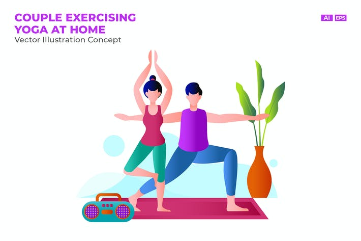 Thumbnail for Couple Exercising Yoga at Home Vector Illustration