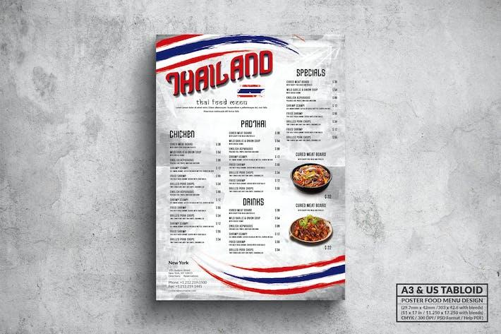 Thumbnail for Тайская кухня Плакат Меню еды - A3 & US Tabloid