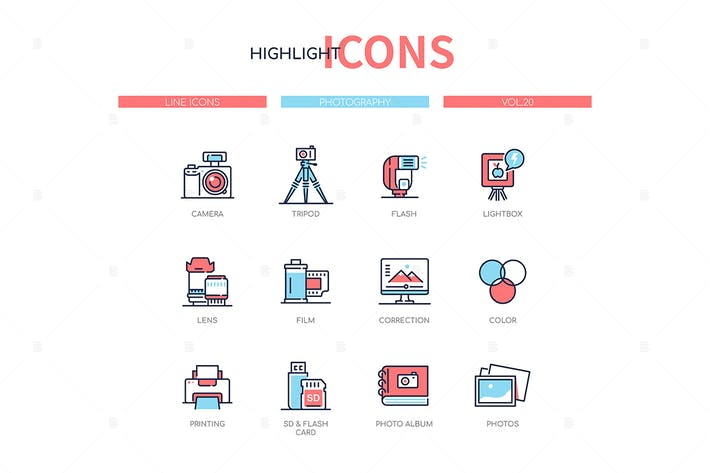 Cover Image For Photography concept - line design style icons set