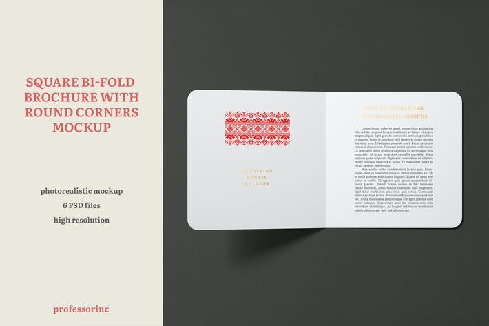 Thumbnail for Square Bi-Fold Brochure Mockup With Round Corners
