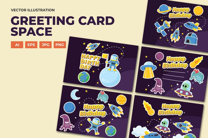 Thumbnail for Space birthday card greeting and invitation series