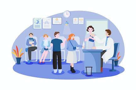 Patients waiting in queue.