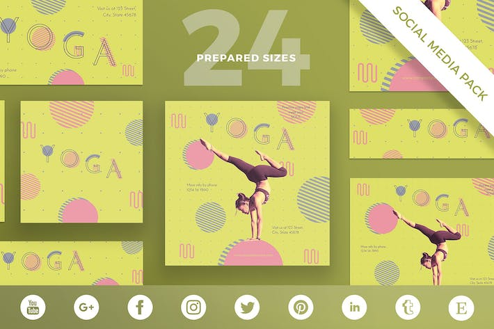 Thumbnail for Yoga Workout Social Media Pack Template