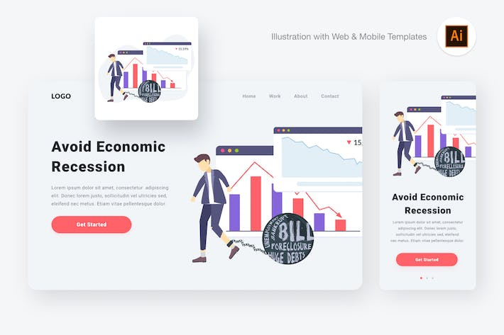 Thumbnail for Economic recession illustration (Illustrator, SVG)