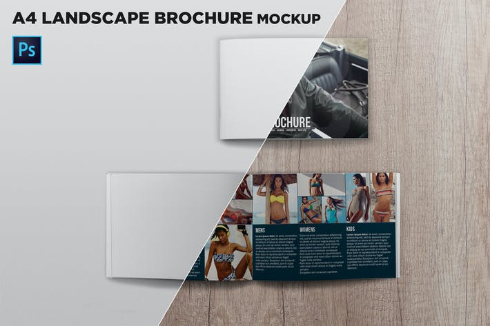 Thumbnail for Cover & Open Landscape Brochure Mockup Top View