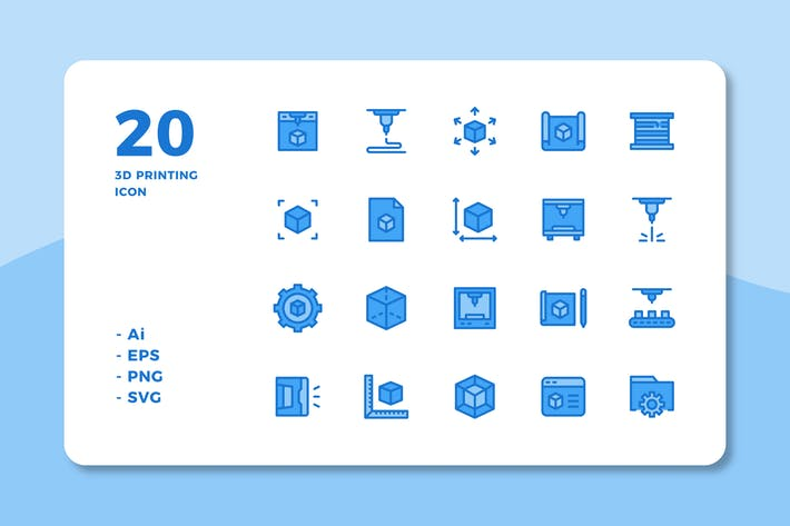 Thumbnail for 20 3D Printing Icons (Lineal Color)