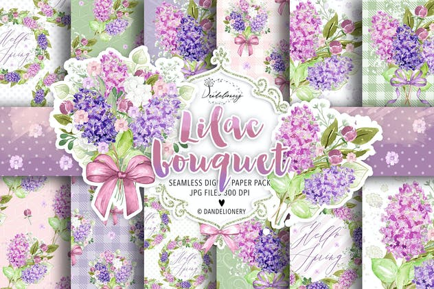 Lilac digital paper pack