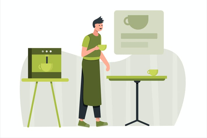 Thumbnail for Barista Coffee Flat Vector Illustration