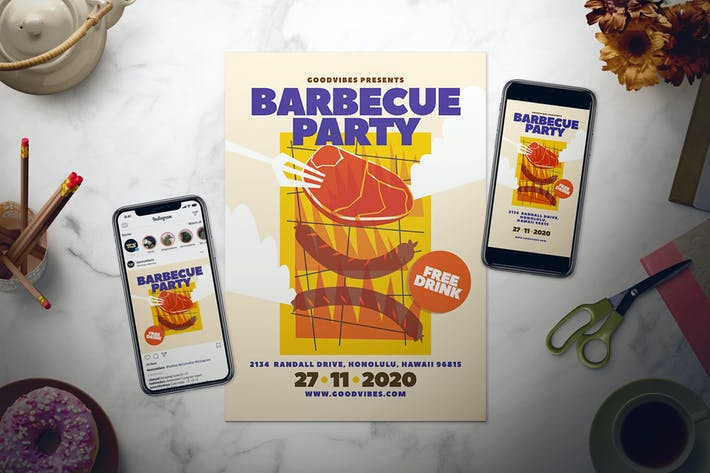 Thumbnail for Barbecue Party Flyer Set