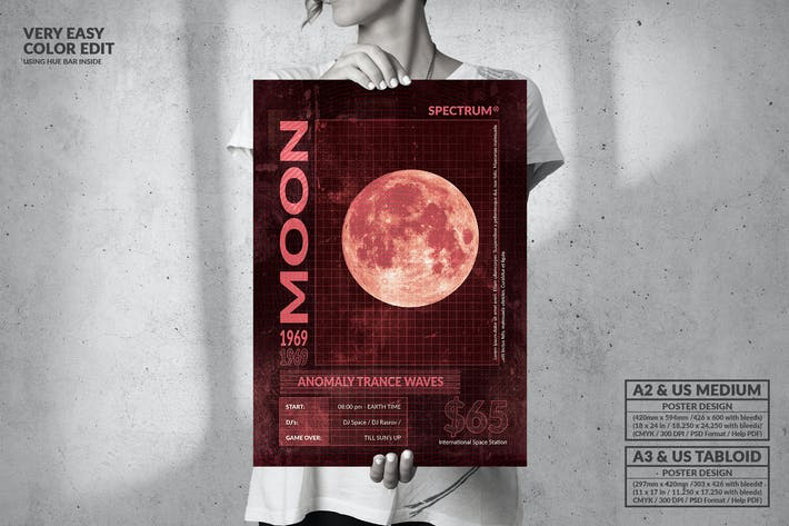 Thumbnail for Moon Anomaly Party - Big Music Poster Design