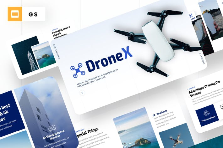 Thumbnail for Drone X - Aerial Photography Google Slides Templat