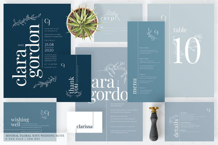 Thumbnail for Minimal Floral Navy Wedding Suite