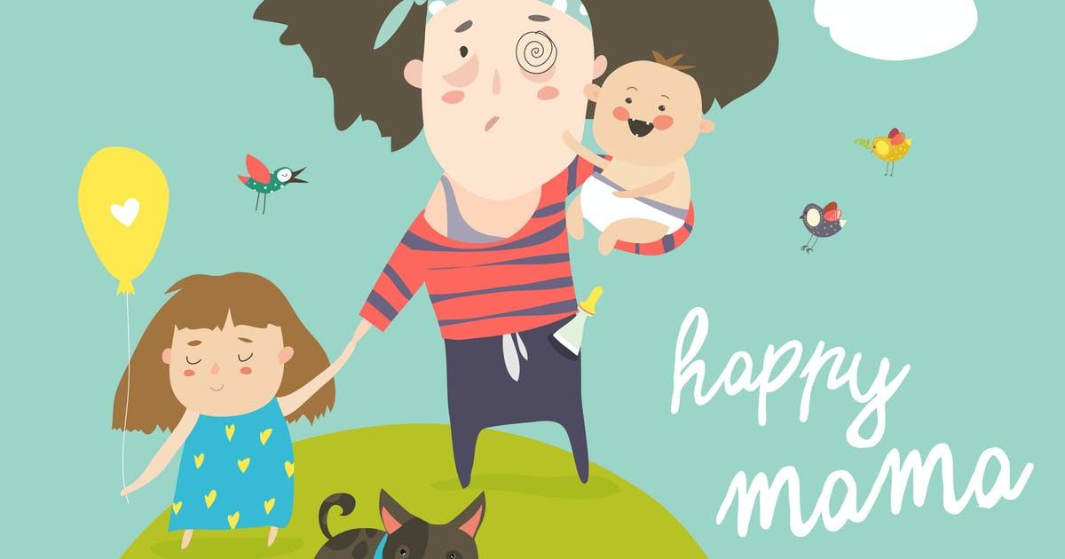 Download Tired mother walking with her kids. Vector by masastarus