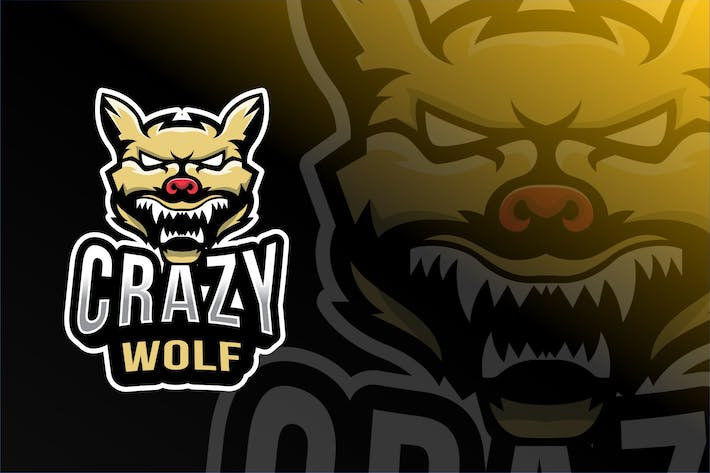 Thumbnail for Crazy Wolf Esport Logo Template