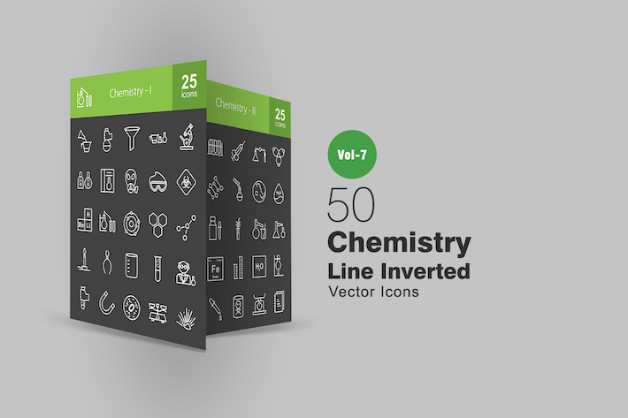 Thumbnail for 50 Chemistry Line Inverted Icons