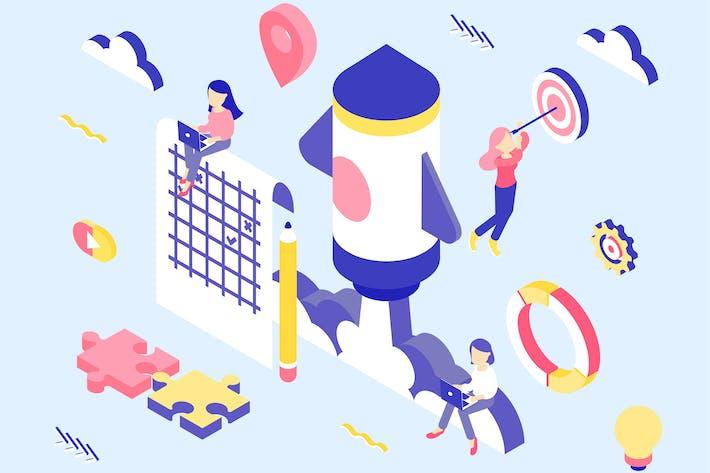 Thumbnail for Startup Isometric Illustration