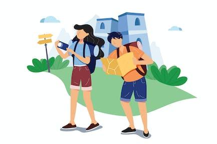 Couple Tourists Traveling