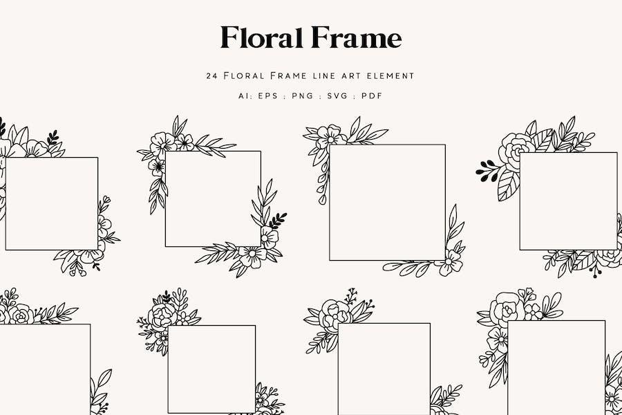 24 Floral Frame Element