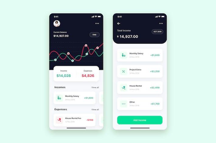 Thumbnail for Finance App UI Kit design for sketch
