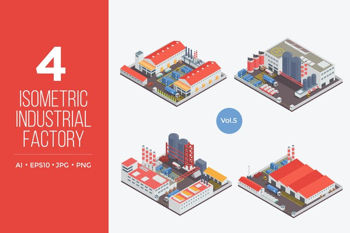 Thumbnail for Isometric Industrial Factory Vector Set 5