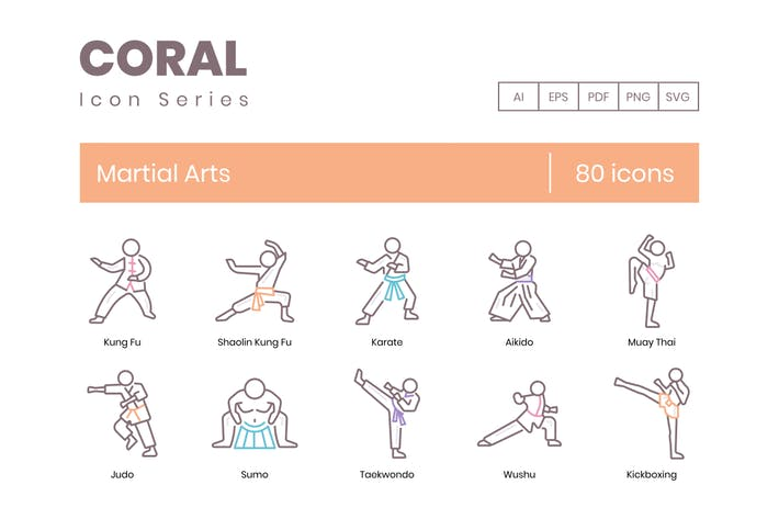 Thumbnail for 80 Martial Arts Icons - Coral Series