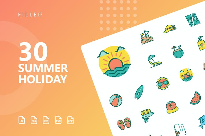 Thumbnail for Summer Holiday Filled Icons