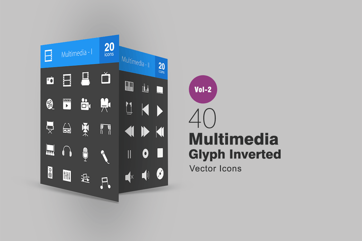 Thumbnail for 40 Multimedia Glyph Inverted Icons