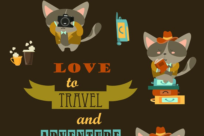 Thumbnail for Set of funny cats travelers. Vector illustration