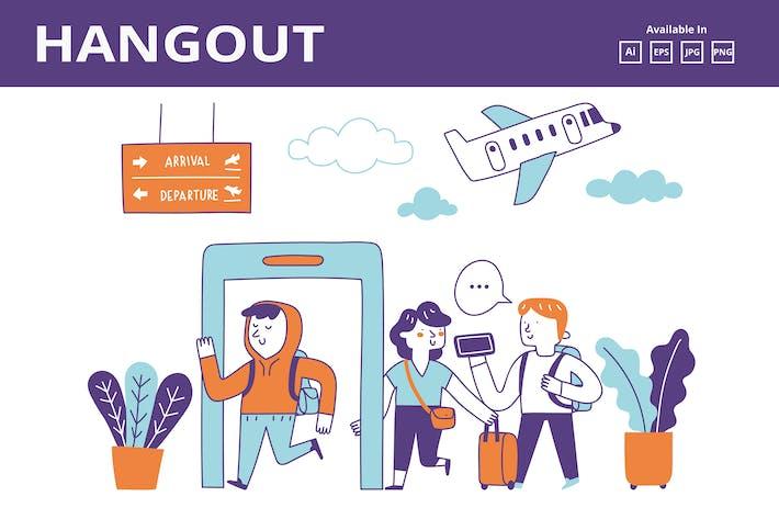 Thumbnail for Arrivée à l'aéroport, griffage de voyage international