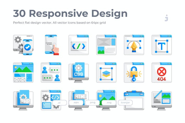 Thumbnail for 30 Responsive & Web Design Icons - Flat