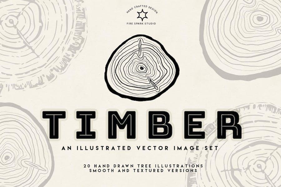 Timber Vector Tree Ring Illustrations