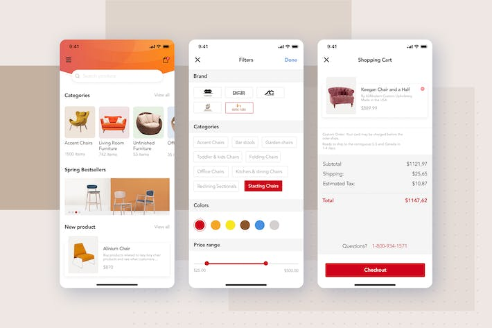 Thumbnail for Filters, Shopping cart screens for Furniture App