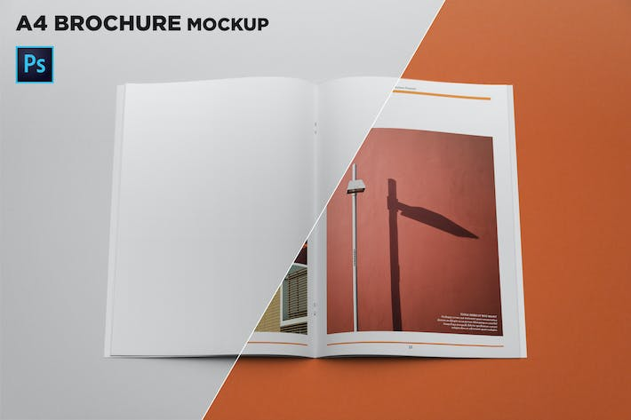 Cover Image For A4 Brochure Mockup Top View